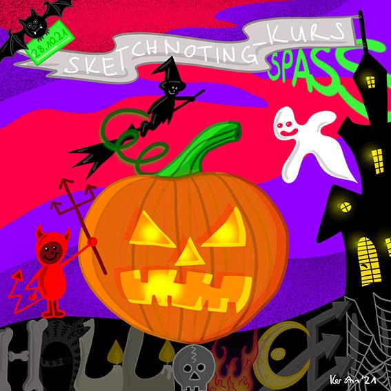 Sketchnoting Kurs SPASS, Thema Halloween